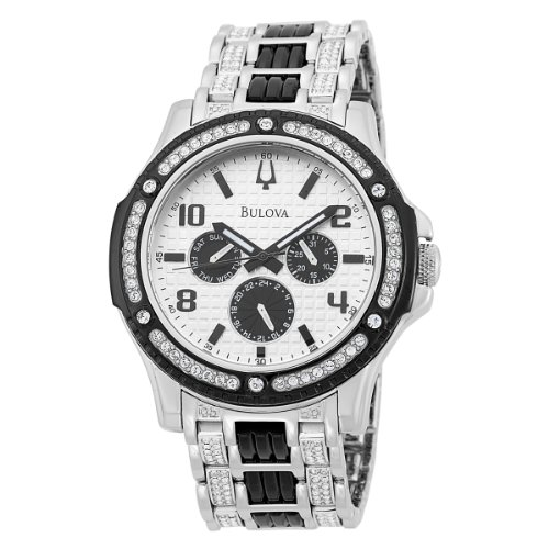 Bulova Men's Crystal Day-Date 98C005 Stainless-Steel Quartz Watch with White Dial