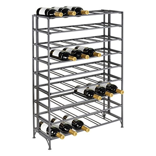 54 Bottle Connoisseurs Deluxe Sleek Large Foldable Metal Wine Rack Cellar Storage Organizer Display Stand front-488302