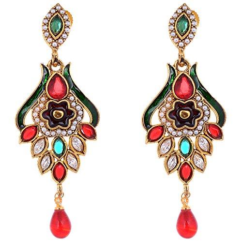 Aditri Aditri Multi Colour American Diamond Clip-On Fashion Earrings For Women (Multicolor)