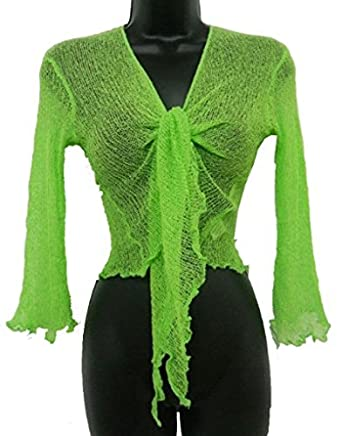 Ladies Crochet Tie Up Cropped Bolero Cardigan Womens One