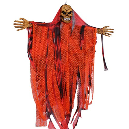 Elevin(TM) New Halloween Prop Horror Hanging Grim Reaper Scary Decoration Outdoor Decor (Orange)