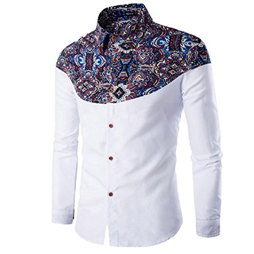 Men's T-shirt, Leegor Fashion Printing Long-sleeved Slim Cotton Bottoming shirt (M, White)
