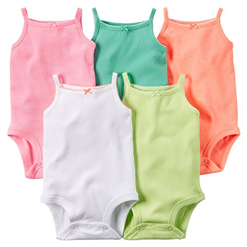 Carter's Baby Girls 5-Pack Sleeveless Bodysuits (Multi) (12 Months)