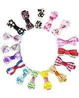 HipGirl Girls Mini Bow Tie, Mini Pinwheel Hair Bow Clips, Barrettes