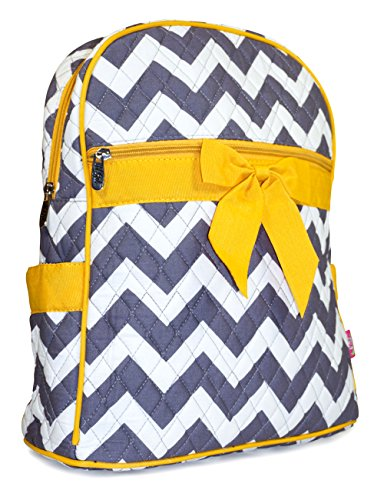 N GIL Quilted Yellow Grey Chevron Backpack