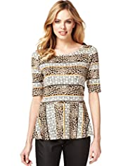 Slash Neck Aztec Print Peplum Top