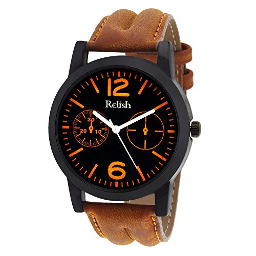 Relish Casual Tan Leather Strap Men\'s Watch RELISH-537