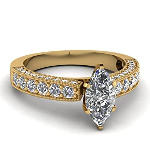 Marquise Cut Diamond Cathedral Style Pave Set Engagement Ring 1.40 Ct 14K GIA