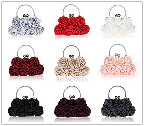 la clientèle d'abord la qualité d'abord prix pas cher Heyjewels Mode Femme Pochette sac a main de soiree en satin fleur rose pour  mariage multicolore 27 x 5 x 13 cm