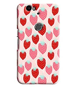 Blue Throat Red Pink Strawberry Printed Designer Back Cover/Case For Huawei Google Nexus 6P