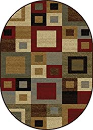 Outstandig Multi-color Squares Contemporary Cubes Geometric Abstract Blocks Modern Area Rug (5\' x 7\' ( Oval))