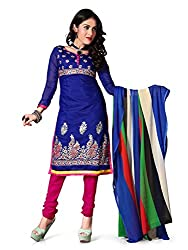 Kimisha Blue Chanderi Embroidered Party Wear Dress Material