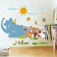 StickersKart Wall Stickers Jungle Cartoon Cute Animals (Multi-Colour, 90cm x ...-5705