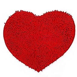 New Decor Bedroom Rug Carpet Floor Bath Mat Doormat with Love Red Heart Shape