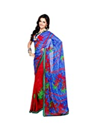Triveni Half-half Faux Georgette Printed Fancy Saree 319b