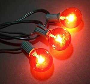 Halloween Globe String Lights : Amazon.com : Halloween G40 Globe String Lights, Green Cord, 25 Orange Bulbs, 25 ft. : Outdoor ...