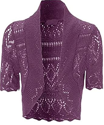 Womens Knitted Bolero Shrug Short Sleeve Crochet Shrug (Purple) at