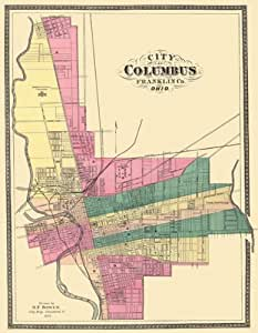 Historic City Maps Columbus Ohio Oh Franklin County