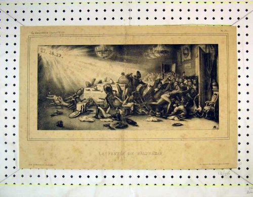 French Antique Print Men Table Meeting Fighting Battle