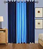Indian Online Mall Plain Door Curtain (Pack of 2), Navy Blue and Sky Blue