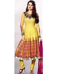 Exotic India Primrose-Yellow Flaired Choodidaar Kameez Suit Wi - Primrose-Yellow