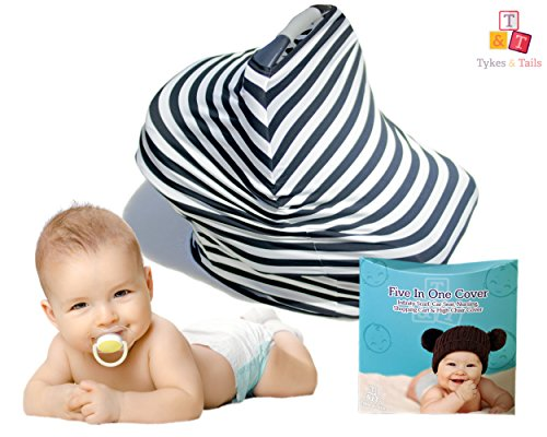 Tykes & Tails - 5 in 1 Baby Breastfeeding Cover, Car Seat Cover, Shopping Cart Cover and Trendy Scarf - Black / White Stripe Pattern - Many Other Colors Options - Best 5in1 Nursing Cover on the Amazon