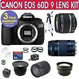 Canon EOS 60D Digital SLR Camera 9 Lens Camera Kit