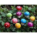 Beetrie 18pcs Miniature Fairy Garden Mushrooms Colorful