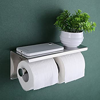 KES SUS 304 Stainless Steel Double Roll Toilet Paper Holder Storage Bathroom Kitchen Dual Paper Towel Dispenser Tissue Roll Hanger Wall Mount, Polished Finish, BPH201S2