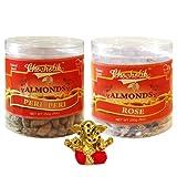 Chocholik Dry Fruits - Almonds Peri Peri & Almonds Rose With Small Ganesha Idol - Diwali Gifts - 2 Combo Pack