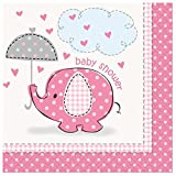 Pink Elephant Baby Shower 16 Count Beverage Napkins, Pink, White And Gray