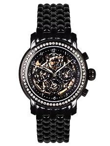 André Belfort 410144 - Reloj analógico de mujer automático con correa de acero inoxidable negra - sumergible a 50 metros