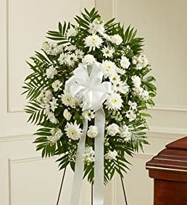 1800Flowers - Deepest Sympathies White Standing Spray - Small