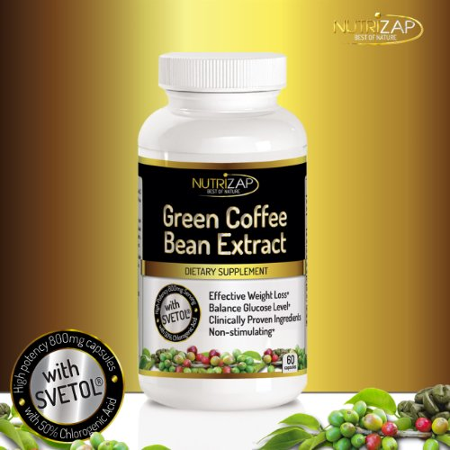 100% Pure Green Coffee Bean Extract Capsules By Nutrizap : Contains Svetol® & 50% Chlorogenic Acid For Effective Natural Weight Loss : 800Mg/Serving : Made In Usa : Verified By Independent Lab