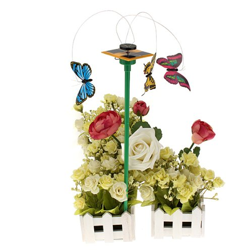3pcs Solar Power Engine Fluttering Wobble Butterfly