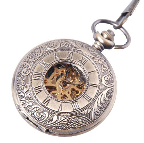 Skeleton Mechanical Movement Pocket Watch Classic Hand Wind Roman Numerals Antique Bronze Tone Half Hunter - PW67