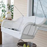 Casco Bay Resin Wicker Porch Swing Size-Color - 55L x 30W x 24H inches - White