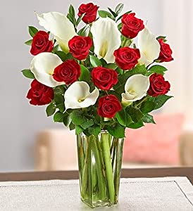 1-800-Flowers - Red Rose & Calla Lily Bouquet - with Clear Vase By 1800Flowers