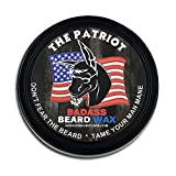 Badass Beard Care Beard Wax For Men - The Patriot Scent, 2 oz - Softens Beard Hair, Leaves Your Beard Looking and Feeling More Dense