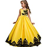 Sleeveless Knee Flower Girl Dresses For Wedding Girls Kids 7-16 Maxi Halloween Pageant Party Dress Bow (Yellow, 150)