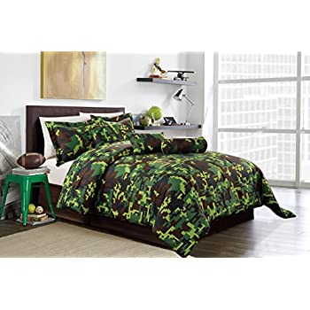 Hunter Green Brown Black Camouflage Camo Pixel Comforter Set Bed In A Bag Queen Size Bedding
