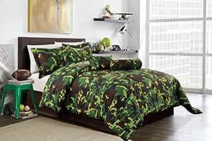 Hunter green brown black camouflage camo pixel comforter set bed in a bag queen size - Green pixel bedding ...