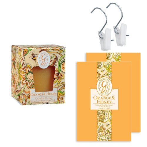 Greenleaf Home Fragrance Gift Set - Includes 1 Candle Cube Votive, 2 Large Scented Fresh Paper Drawer Sachet With 2 Jumbl Hang And Clips For Easy And Flexible Hanging Options, Add A Refreshing Smell To Your House/ Bedroom /Bathroom /Closet /Hangings /Shoe