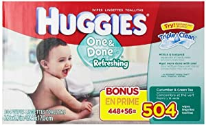 Huggies One and Done Refreshing Baby Wipes,Cucumber & Green Tea, Refill,1512Count