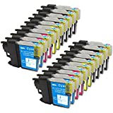 20 Pack - Compatible Ink Cartridges for Brother LC-61 LC-61 LC61 XL LC-61BK LC-61C LC-61M LC-61Y Inkjet Cartridge Compatible With Brother DCP-165C DCP-375CW DCP-385CW DCP-395CN DCP-585CW DCP-J125 MFC-250C MFC-255CW MFC-290C MFC-295CN MFC-490CW