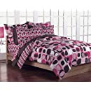 Girls Teen Geometric Pink And Brown Comforter Bedding Set