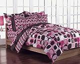 Girls Teen Pink and Brown Geometric Circles 7 Piece Comforter Set Size: Full