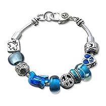 Blue Multi Beaded Peace Designer Style Charm Bracelet