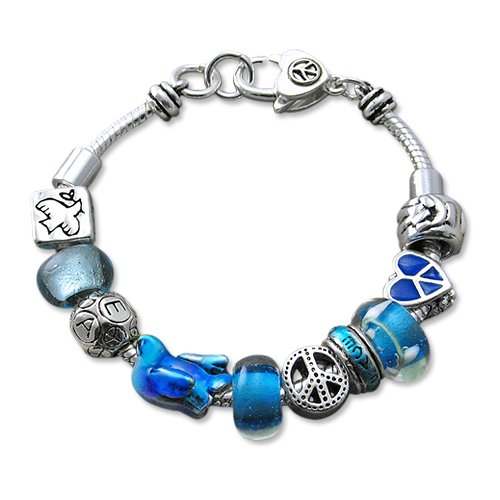 Blue Multi Beaded Peace Designer Style Charm