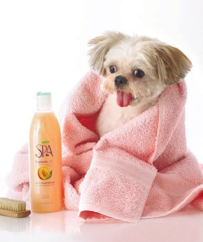 Spa Replenish 3Nl Premium All Natural Plant Based Dog Shampoo 18 Oz. With Pure Nectarine And White Tea To Keep Fur Hydrated And To Strengthen And Rebuild Damaged Hair With 2 Instant Dry Microfiber Pet Drying Towels